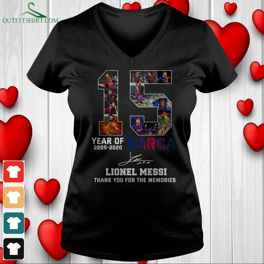 15 year of 2005 2020 barca lionel messi thank you for the memories v neck t shirt