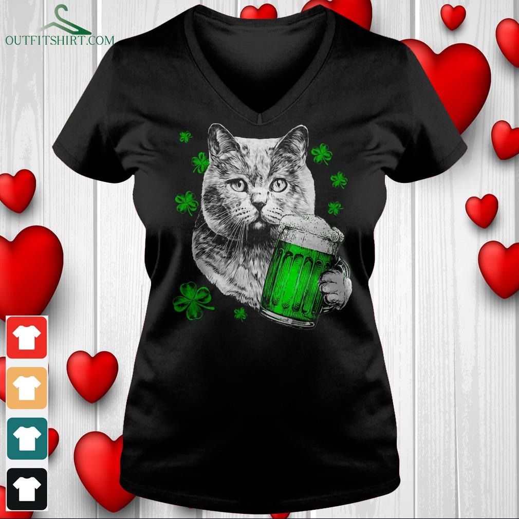 cat with beer v neck t shirt
