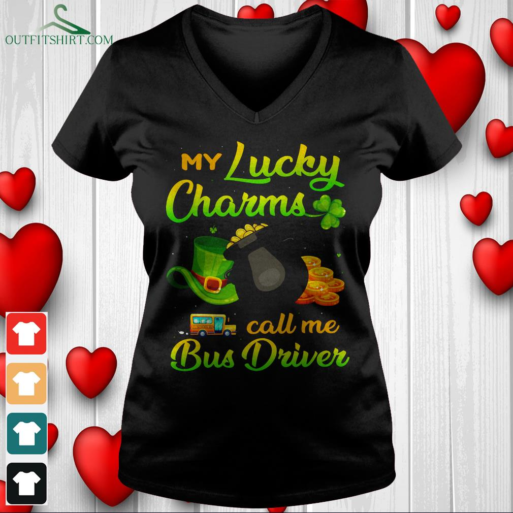 my lucky charms call me bus driver v neck t shirt