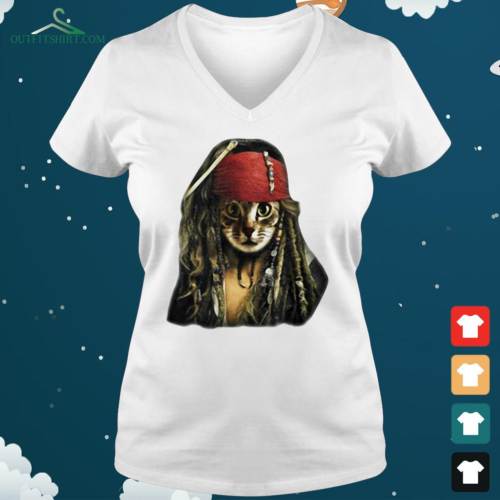 pirate cat pirates of the caribbean v neck t shirt