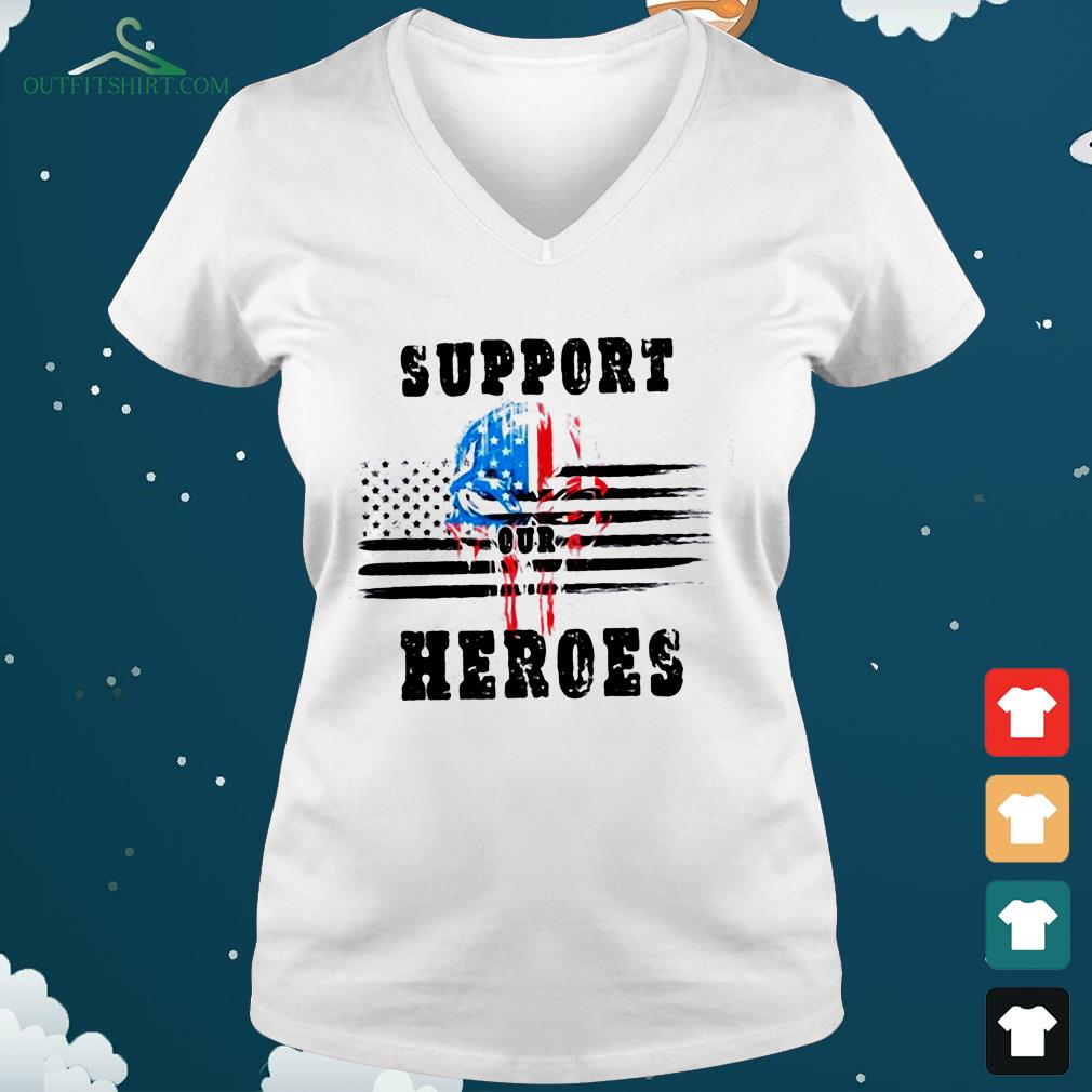 support out heroes v neck t shirt
