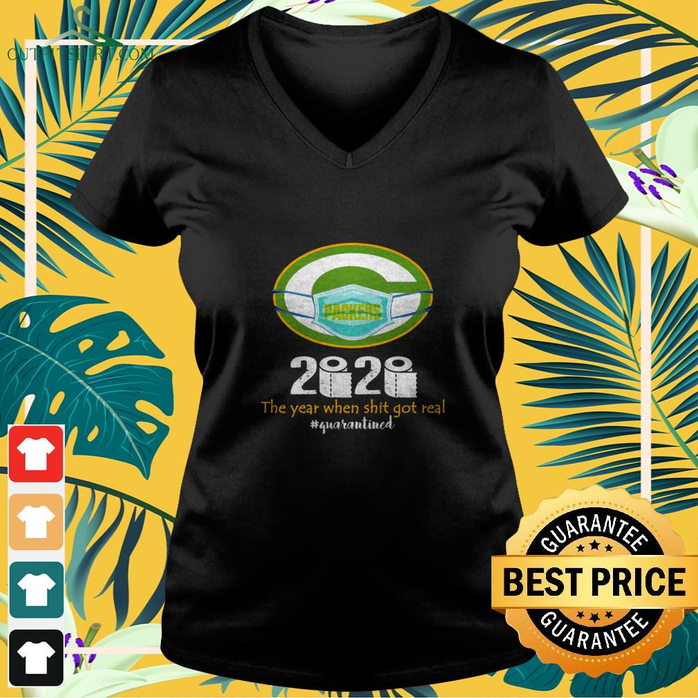green bay packers mask 2020 the year when shit got real quarantined V neck t shirt