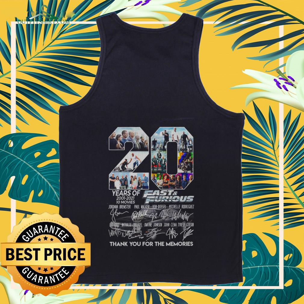 20 years of fast and furious 2001 2021 10 movies thank you for the memories Tank top