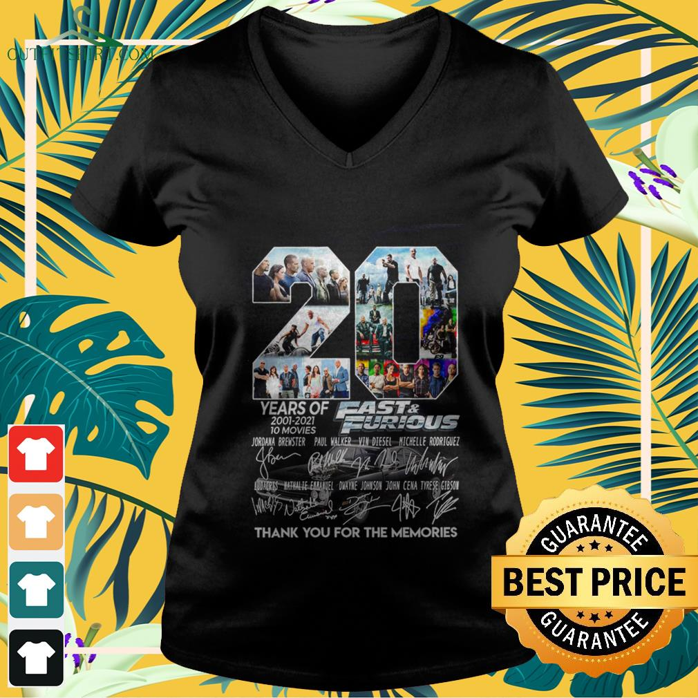 20 years of fast and furious 2001 2021 10 movies thank you for the memories V neck t shirt