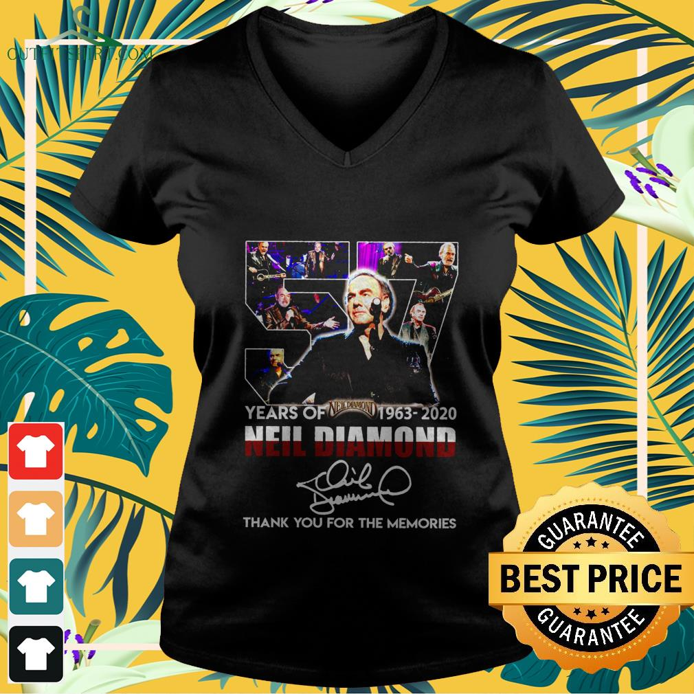57 years of 1963 2020 neil diamond thank you for the memories V neck t shirt