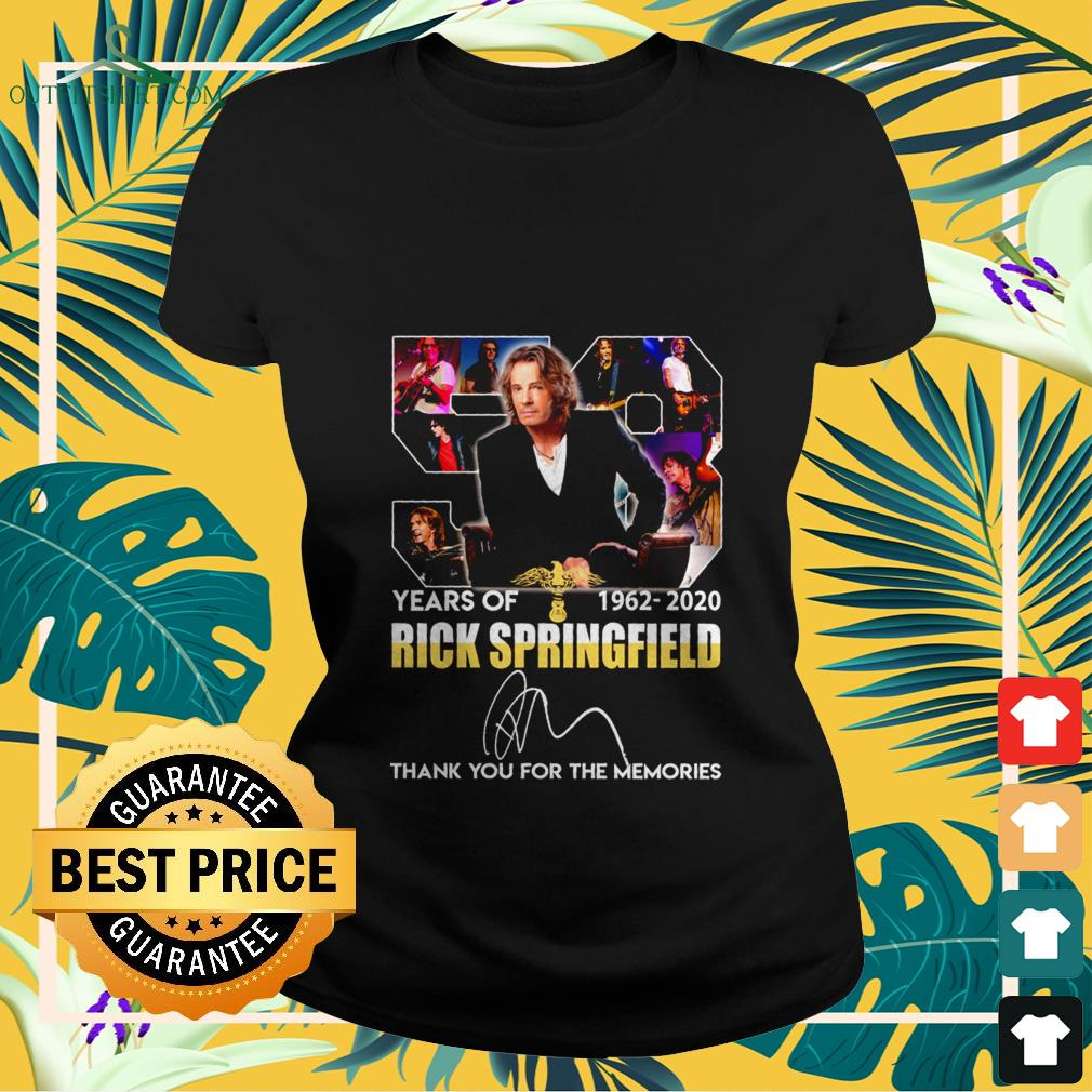 58 years of 1962 2020 rick springfield thank you for the memories Ladies tee