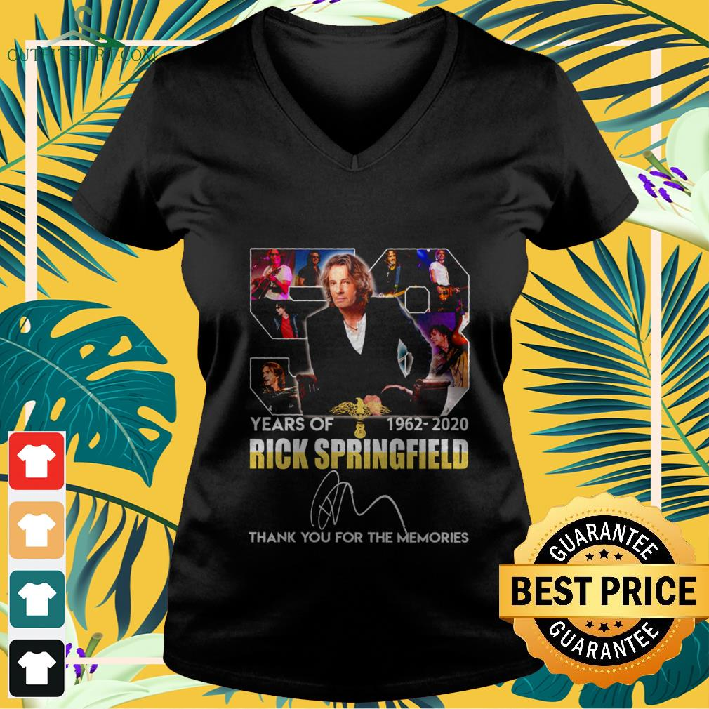 58 years of 1962 2020 rick springfield thank you for the memories V neck t shirt