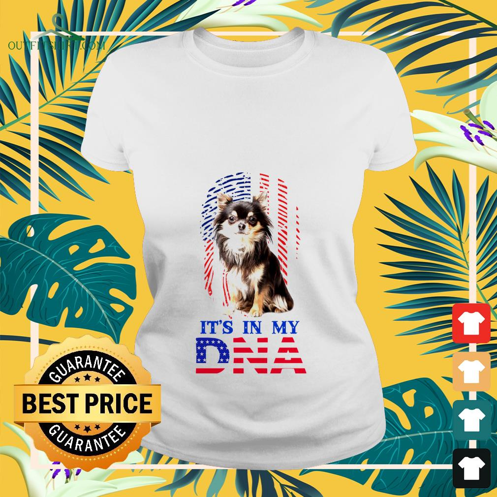 american flag chihuahua its in my dna Ladies tee