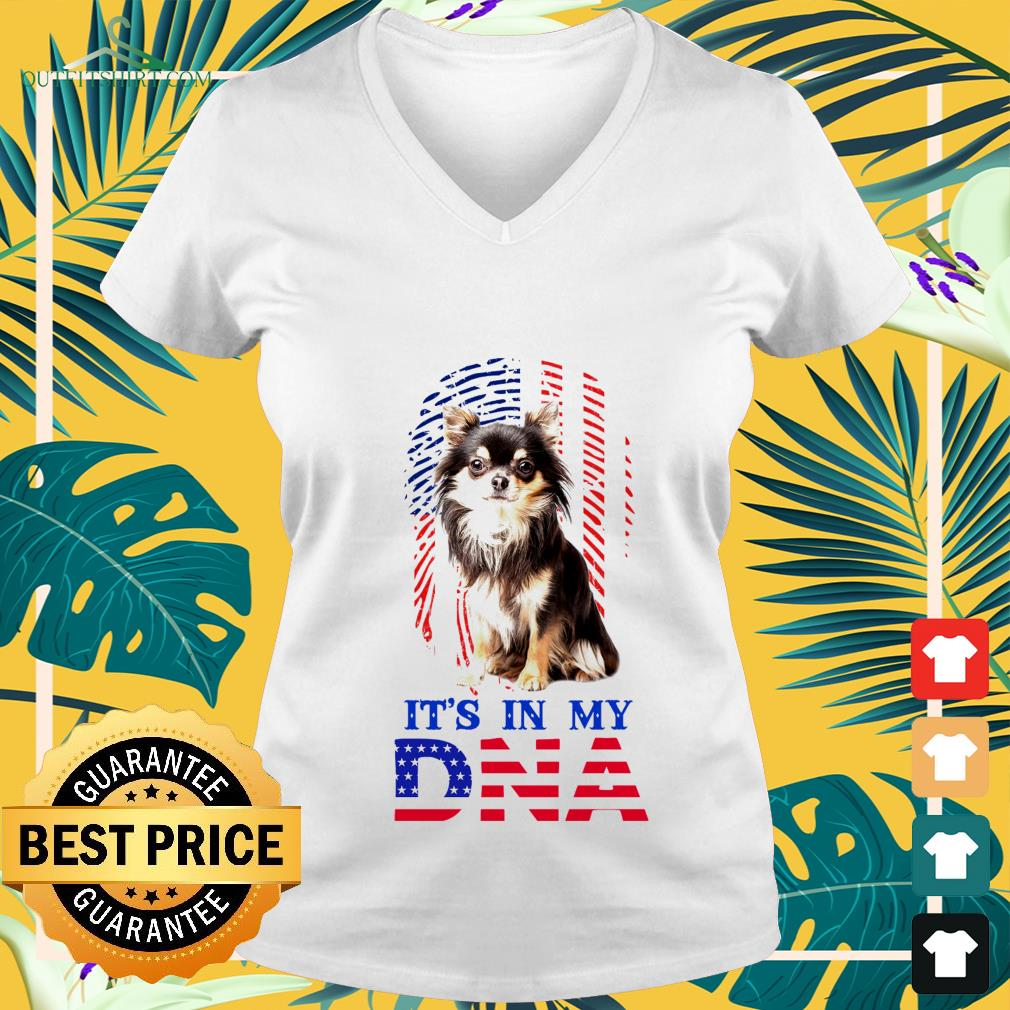 american flag chihuahua its in my dna V neck t shirt
