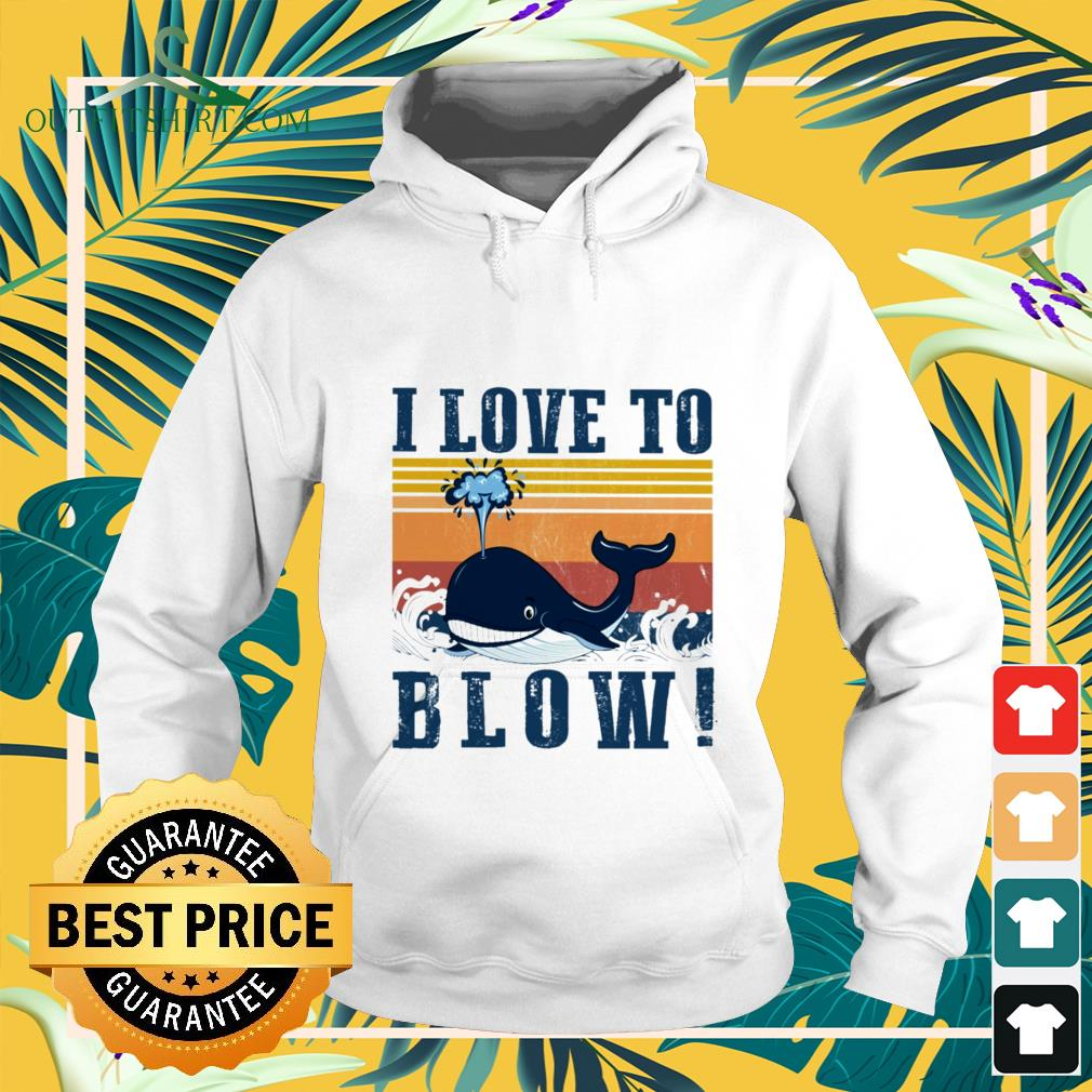 blue whale i love to blow vintage Hoodie