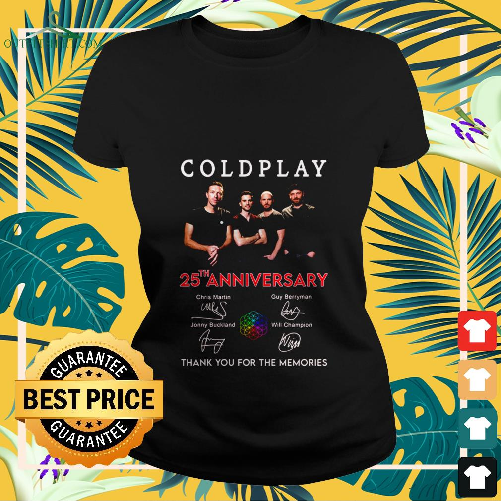 coldplay 25th anniversary thank you for the memories signatures Ladies tee
