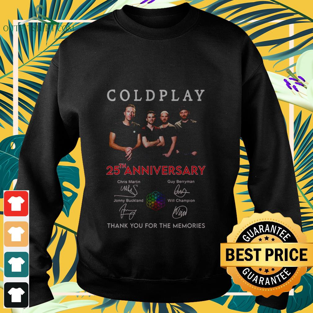 coldplay 25th anniversary thank you for the memories signatures Sweater