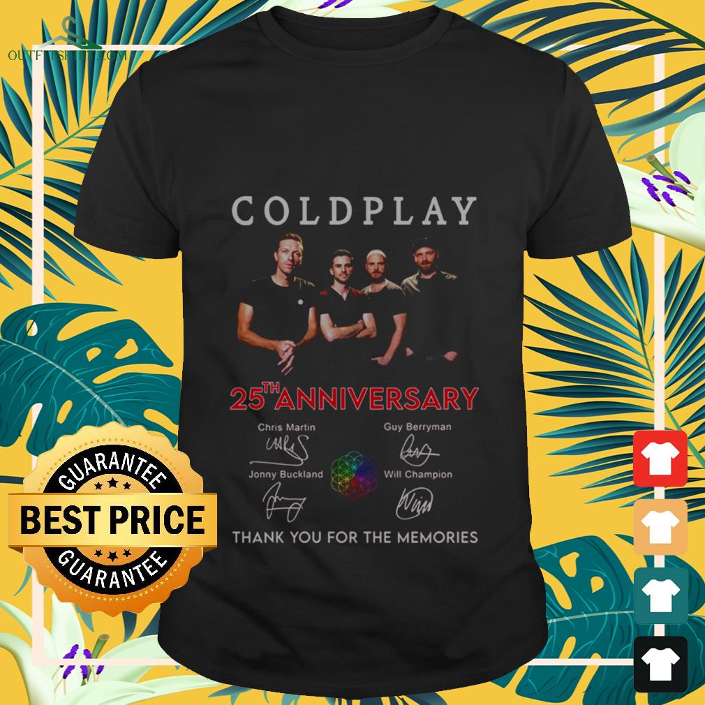coldplay 25th anniversary thank you for the memories signatures T shirt