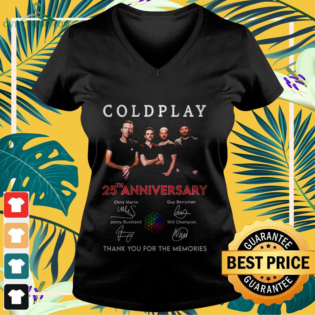 coldplay 25th anniversary thank you for the memories signatures V neck t shirt