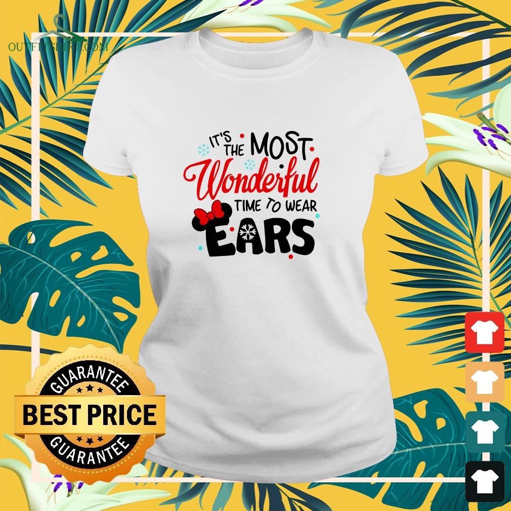 disney minnie mouse its the most wonderful time to wear ears ladies tee