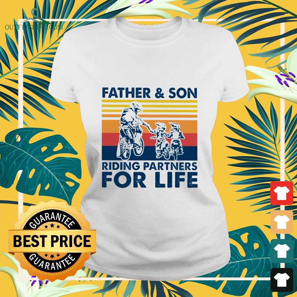 father and son riding partners for life ladies tee