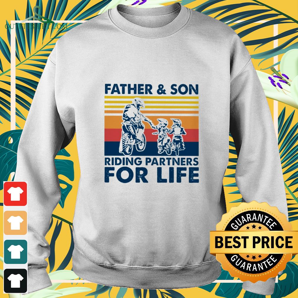 father and son riding partners for life sweater