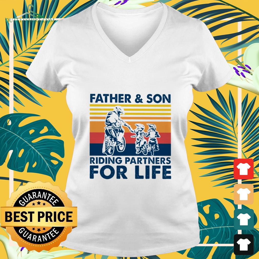 father and son riding partners for life v neck t shirt