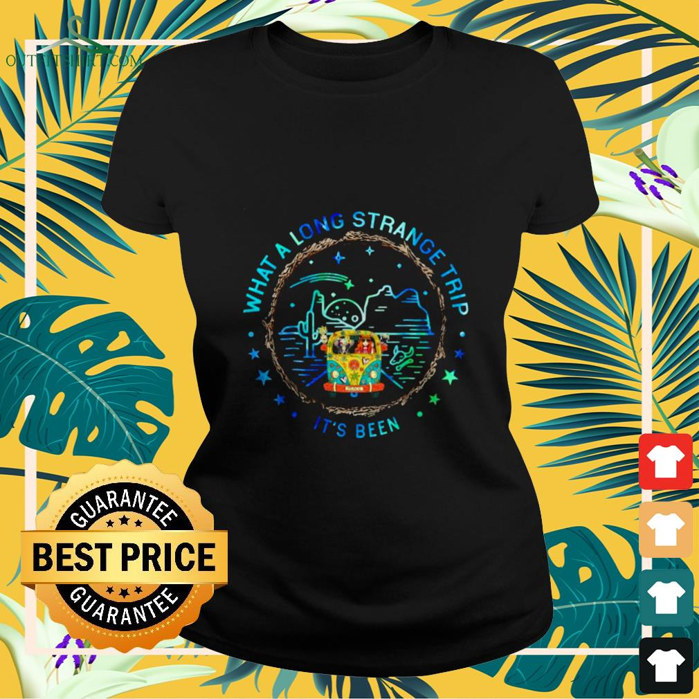 girl and hippie car what a long strange trip its been Ladies tee