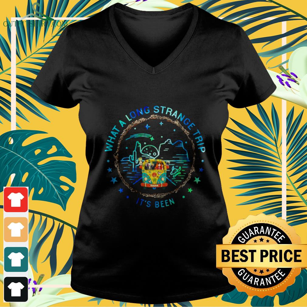 girl and hippie car what a long strange trip its been V neck t shirt