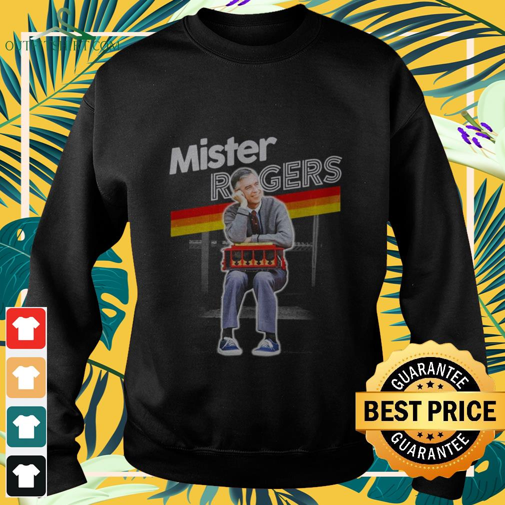 mister rogers smiling seaning on trolley Sweater