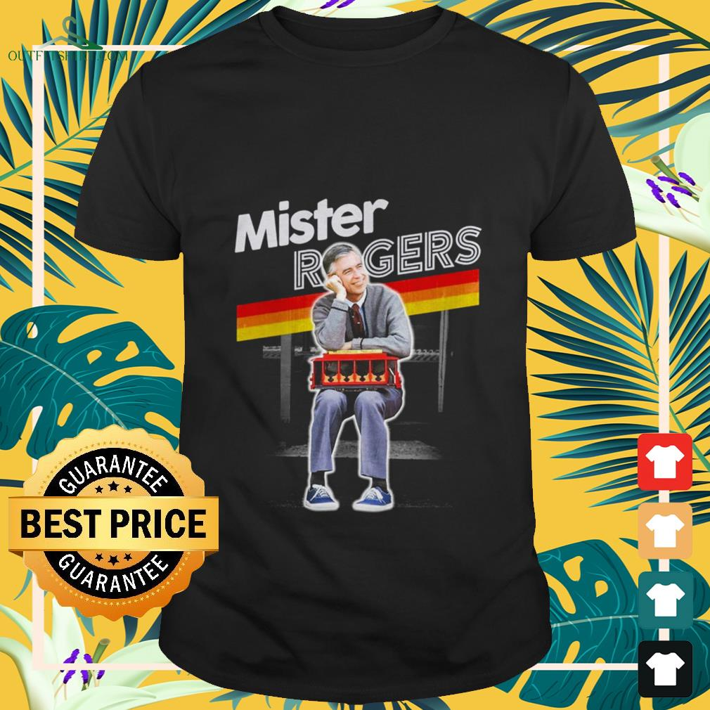 mister rogers smiling seaning on trolley T shirt