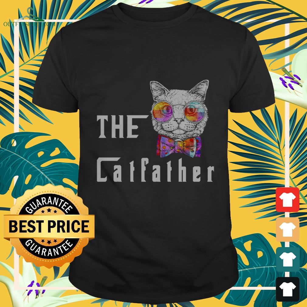 nerd cat with glasses and bow the catfather T shirt
