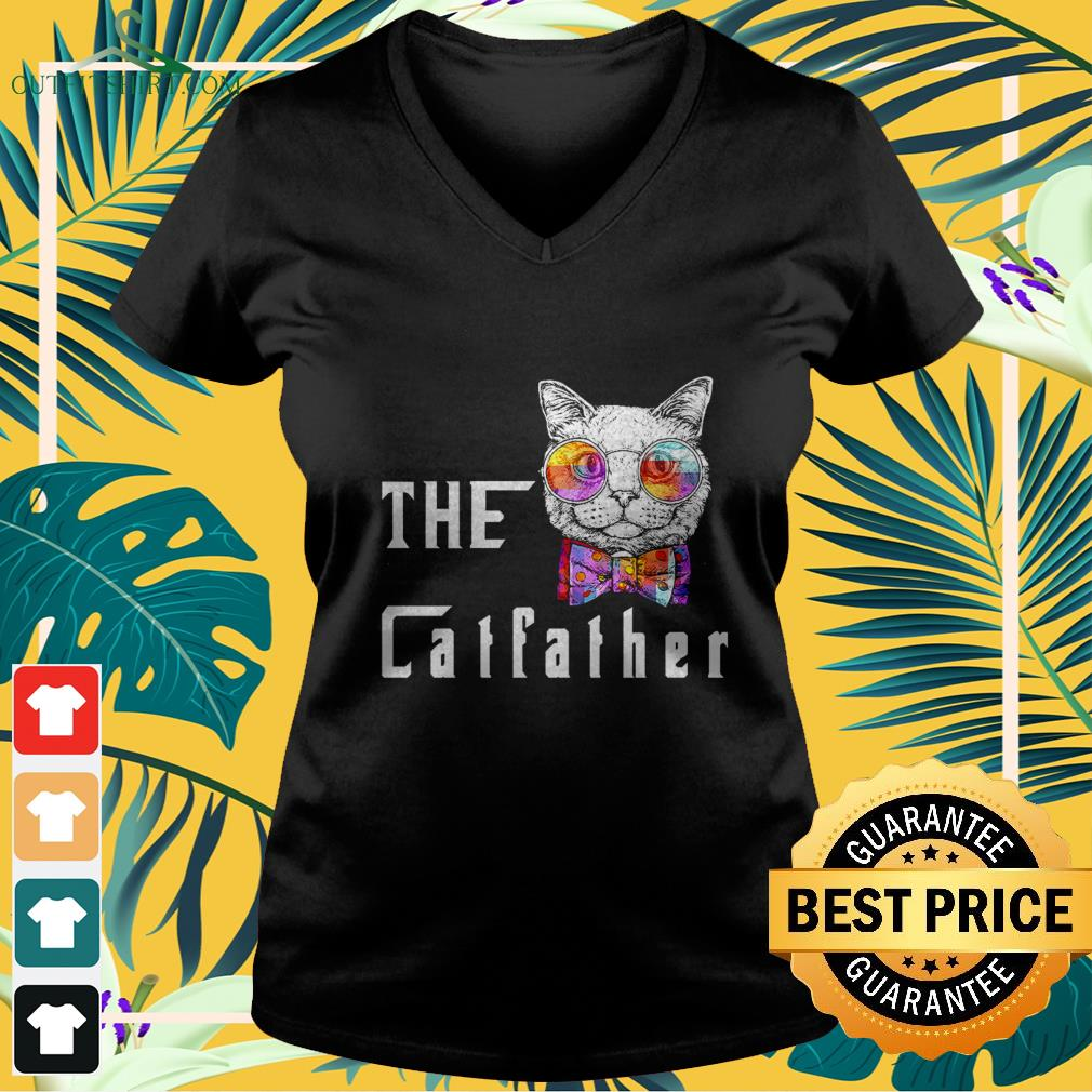 nerd cat with glasses and bow the catfather V neck t shirt