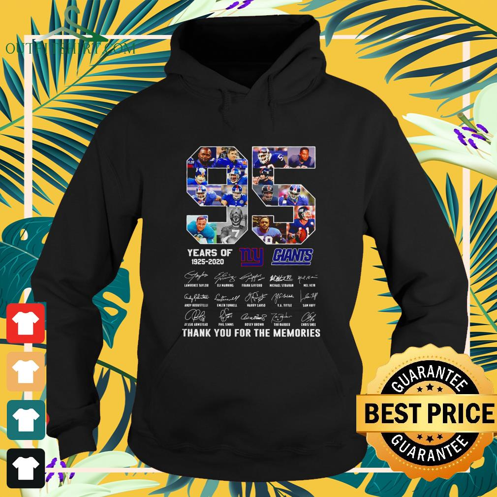 new york giants 95th years of 1925 2020 signature thank you for the memories hoodie