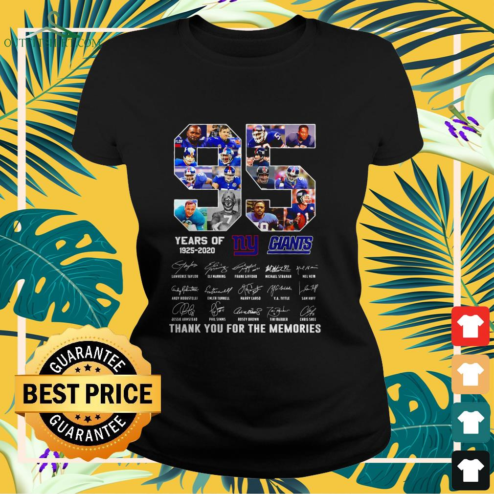 new york giants 95th years of 1925 2020 signature thank you for the memories ladies tee