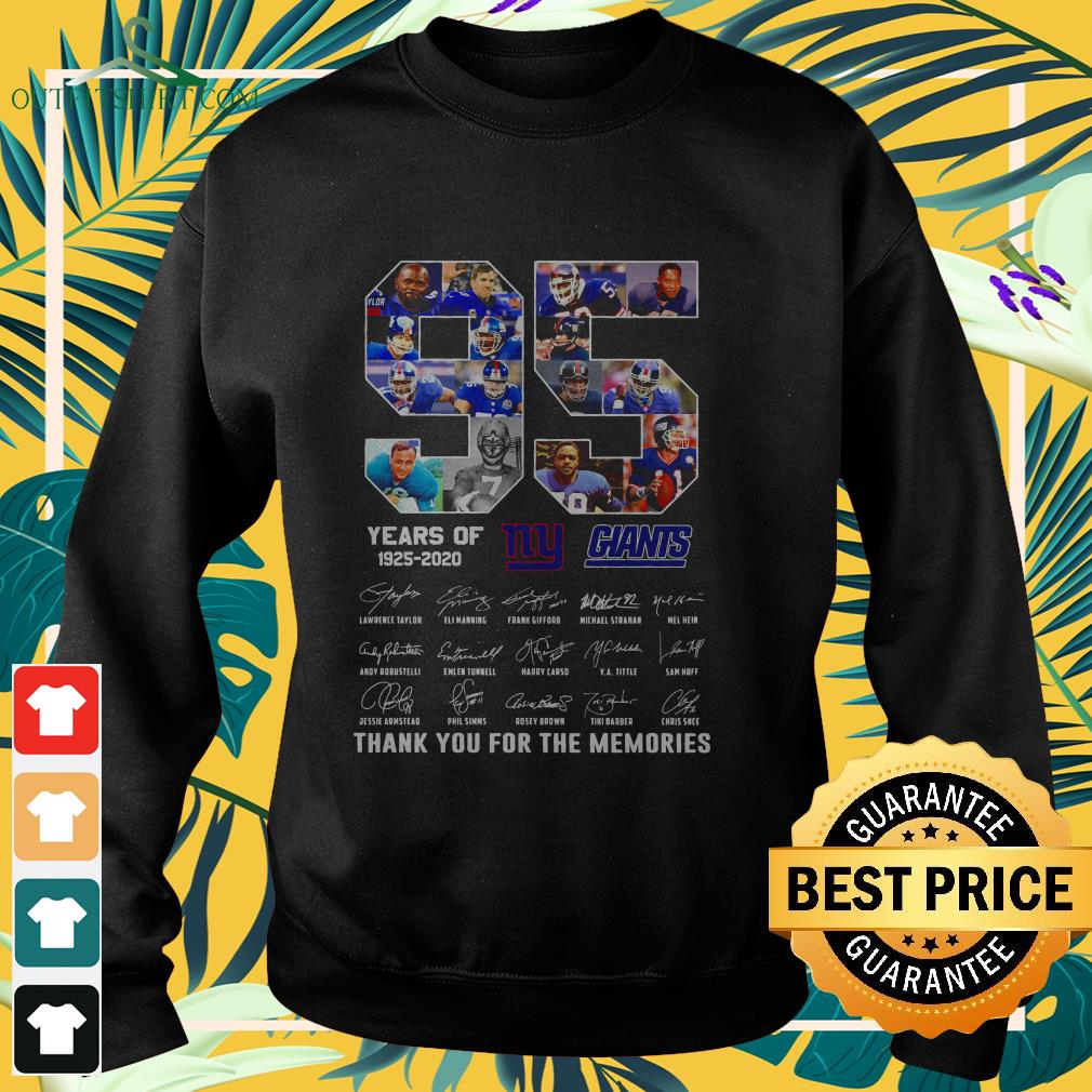 new york giants 95th years of 1925 2020 signature thank you for the memories sweater