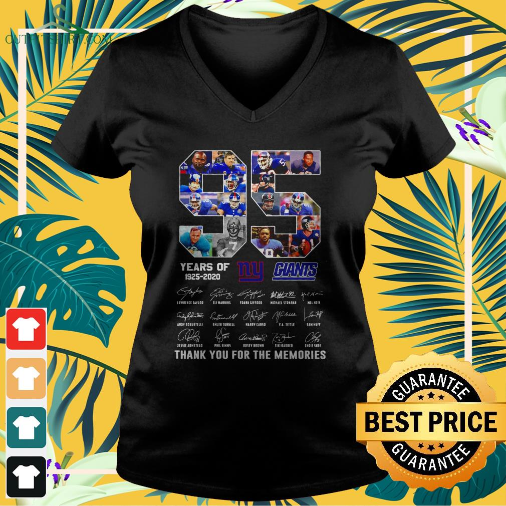 new york giants 95th years of 1925 2020 signature thank you for the memories v neck t shirt