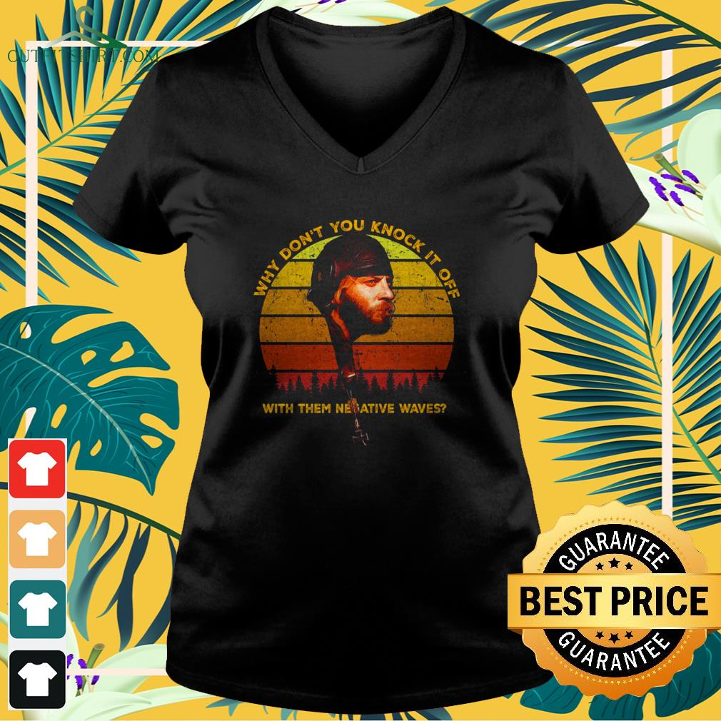 sgt oddball why dont you knock it off with them negative waves sunset v neck t shirt