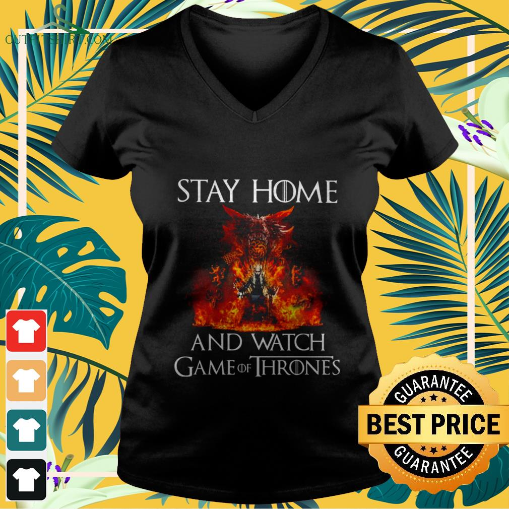 stay at home and watch game of thrones V neck t shirt