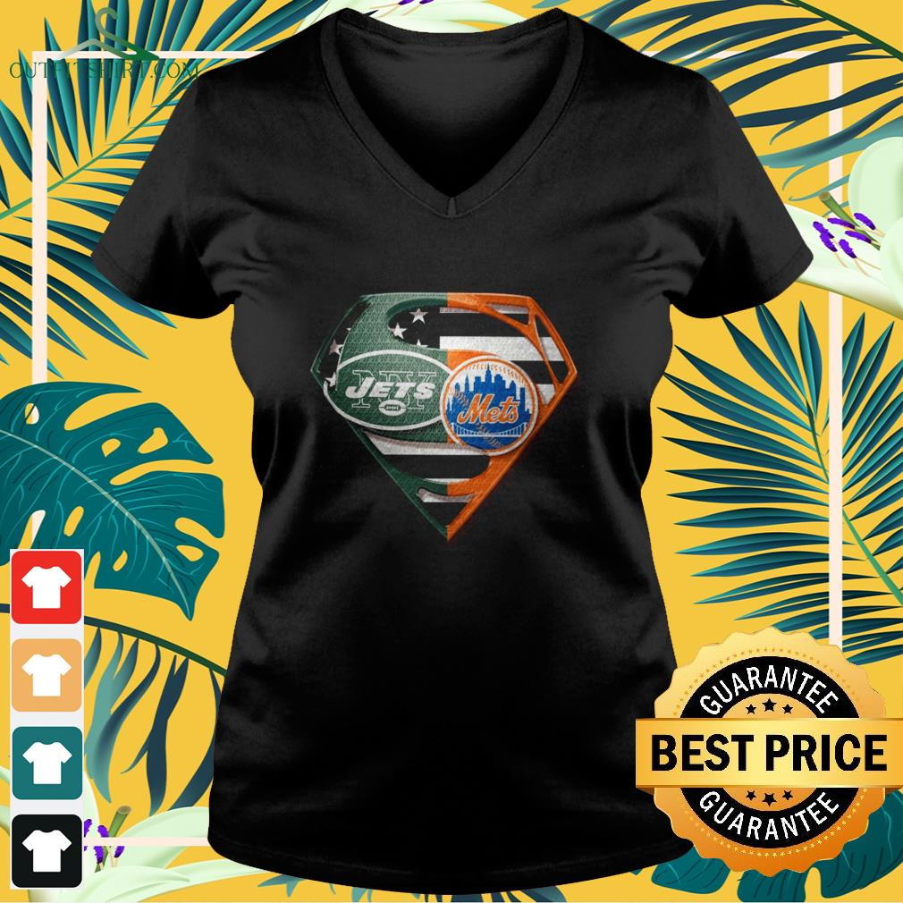superman new york jets and new york mets v neck t shirt