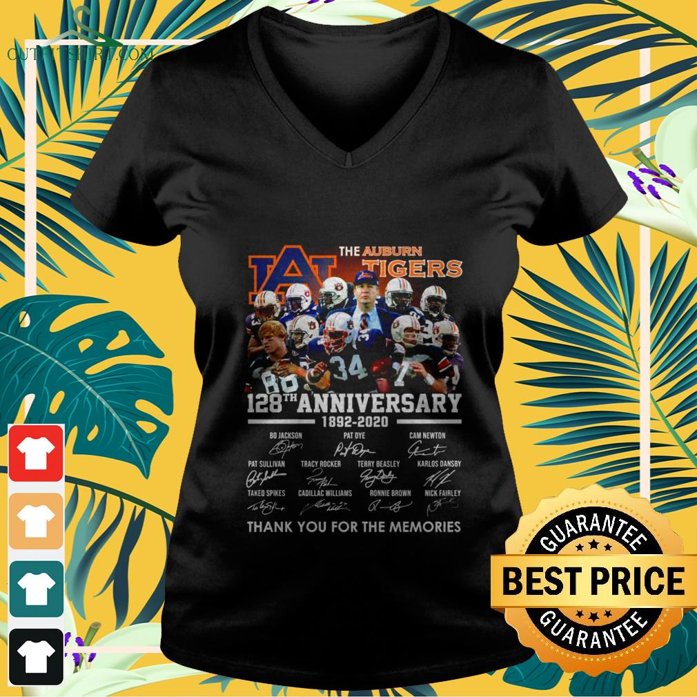 the auburn tigers 128th anniversary 1982 2020 thank you for the memories V neck t shirt