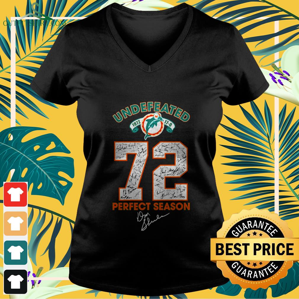 undefeated miami dolphins 72 perfect season signature V neck t shirt