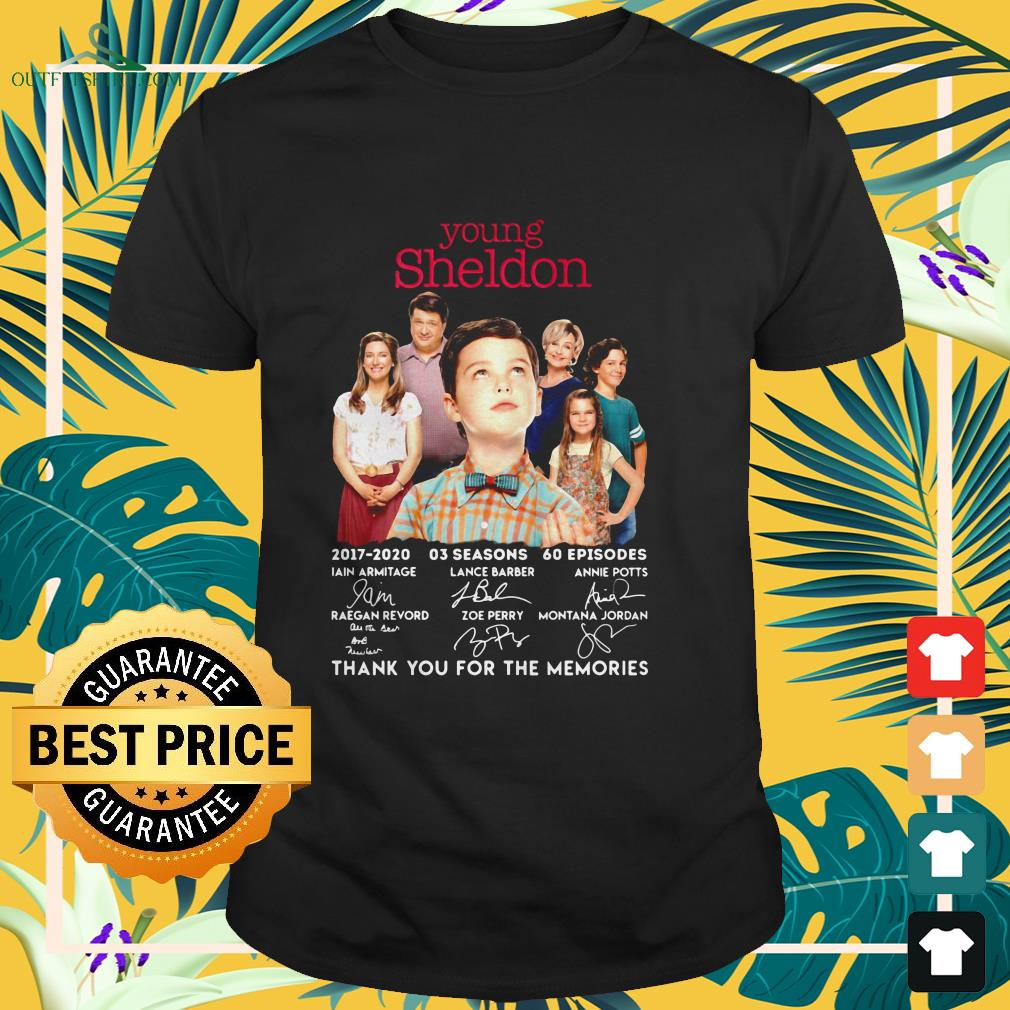 young sheldon 2017 2020 signature thank you for the memories t shirt