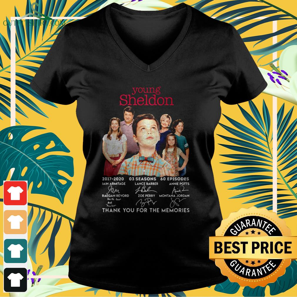 young sheldon 2017 2020 signature thank you for the memories v neck t shirt
