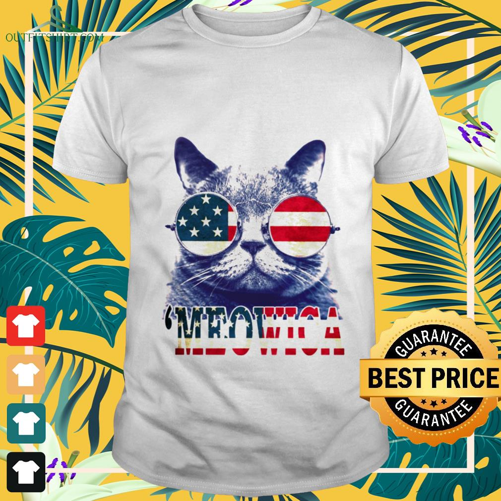 4th of July 'meowica British Shorthair Cat shirt