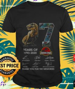 7 years of 1993-2020 Jurassic Park thank you for the memories shirt