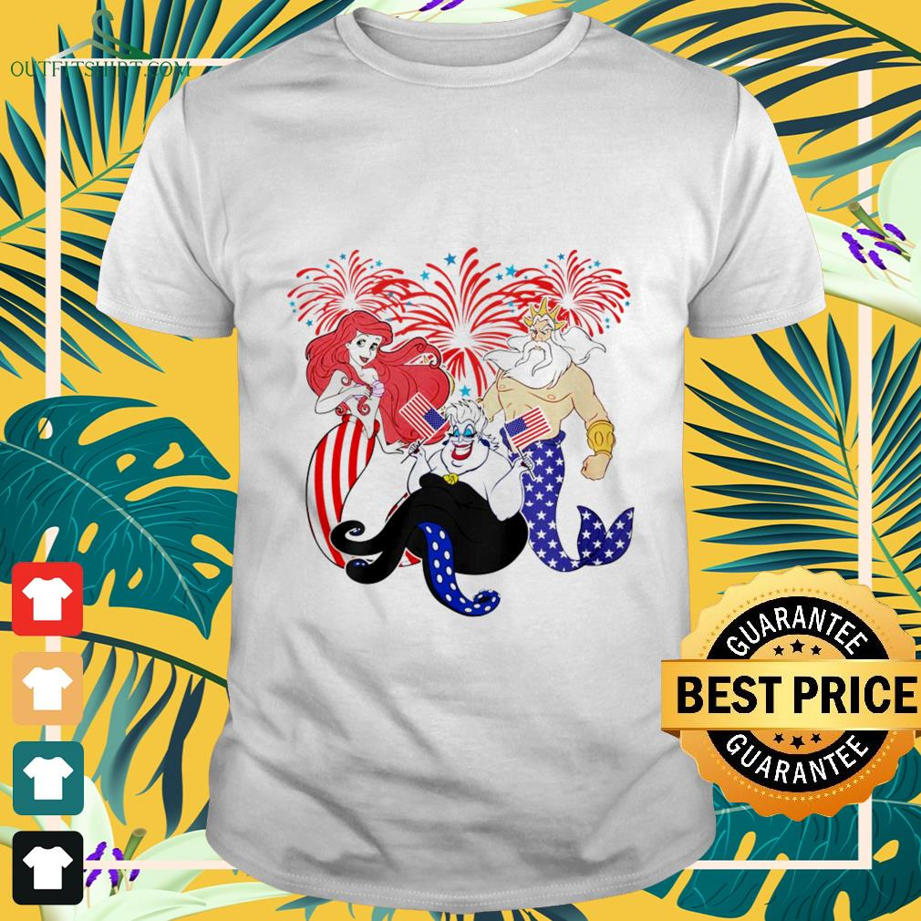 Fireworks The Little Mermaid 4th of July independence day shirt