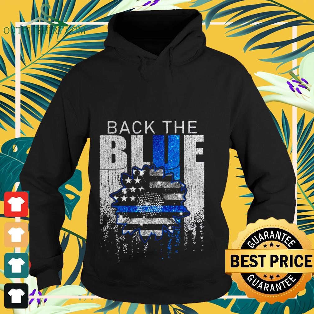 American Flag sunflower back the blue hoodie