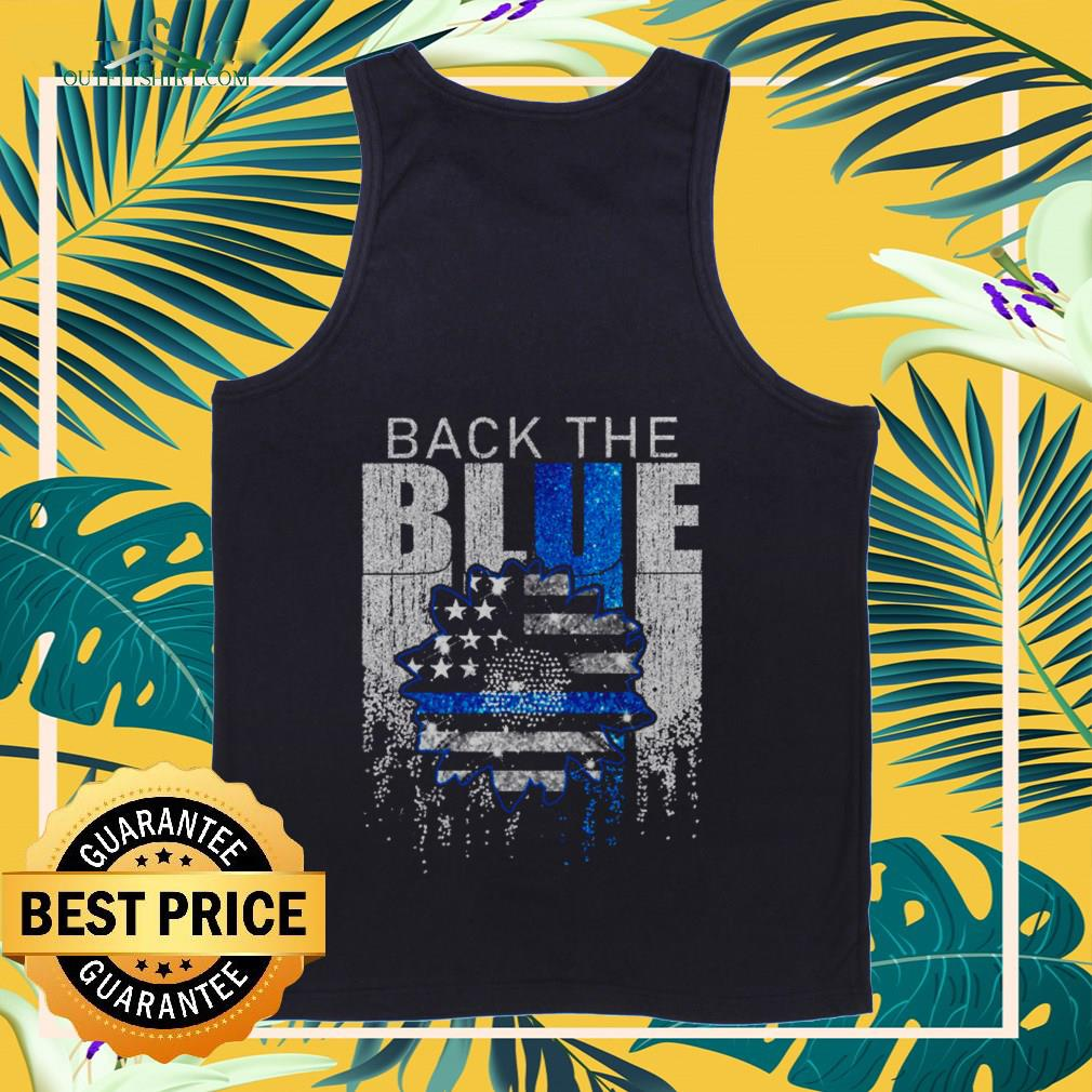 American Flag sunflower back the blue tank-top