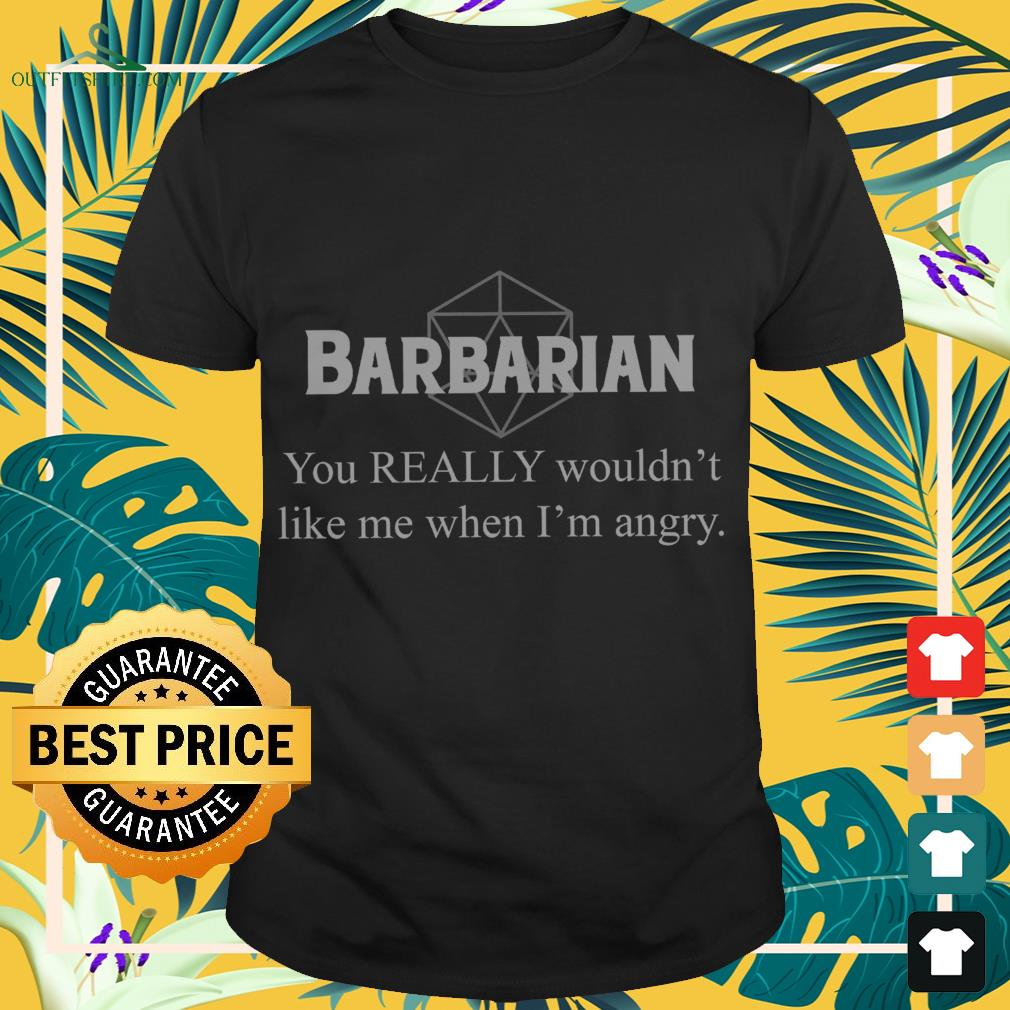 Barbarian you really wouldn't like me when I'm angry shirt