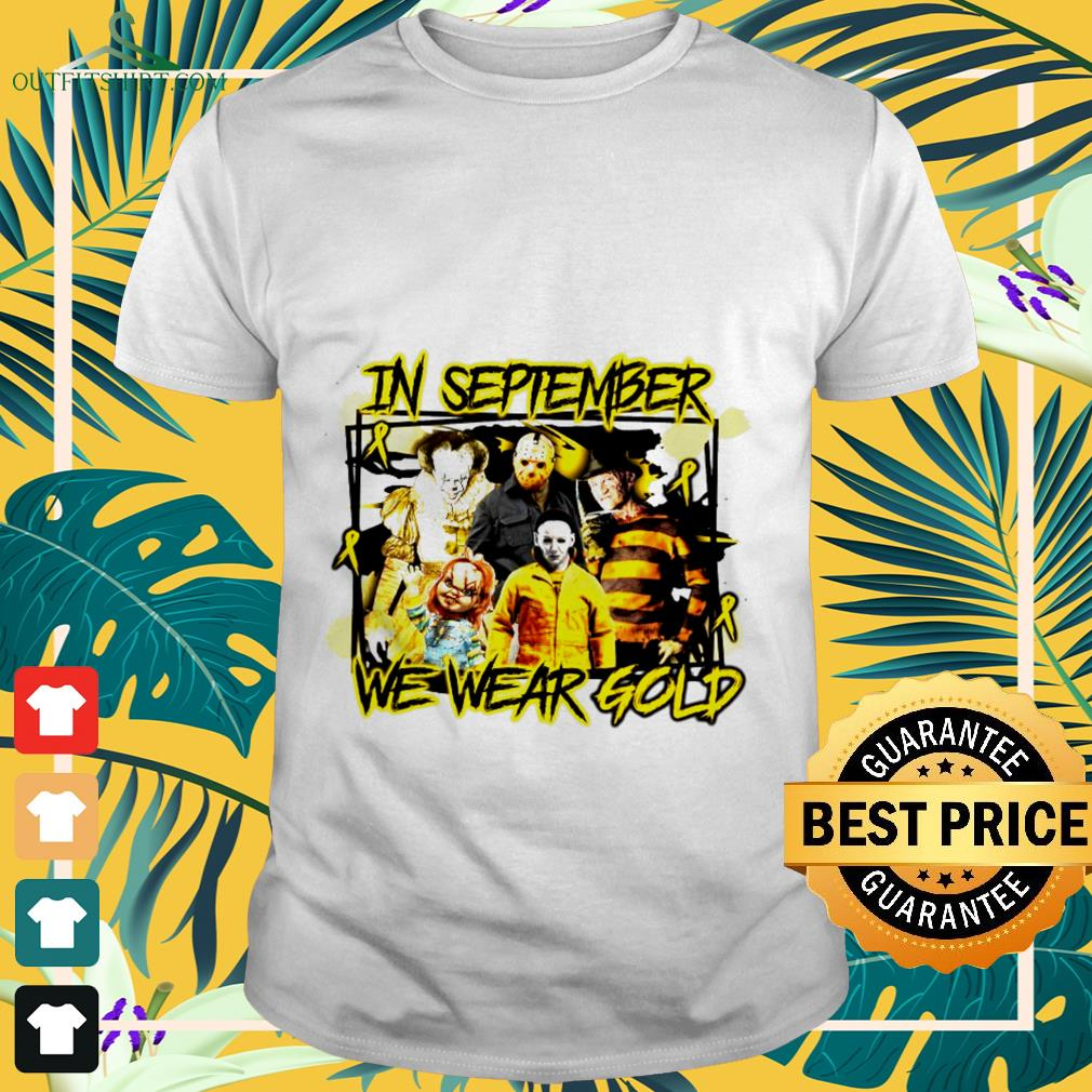 Horror movie characters cancer in September we wear gold shirt