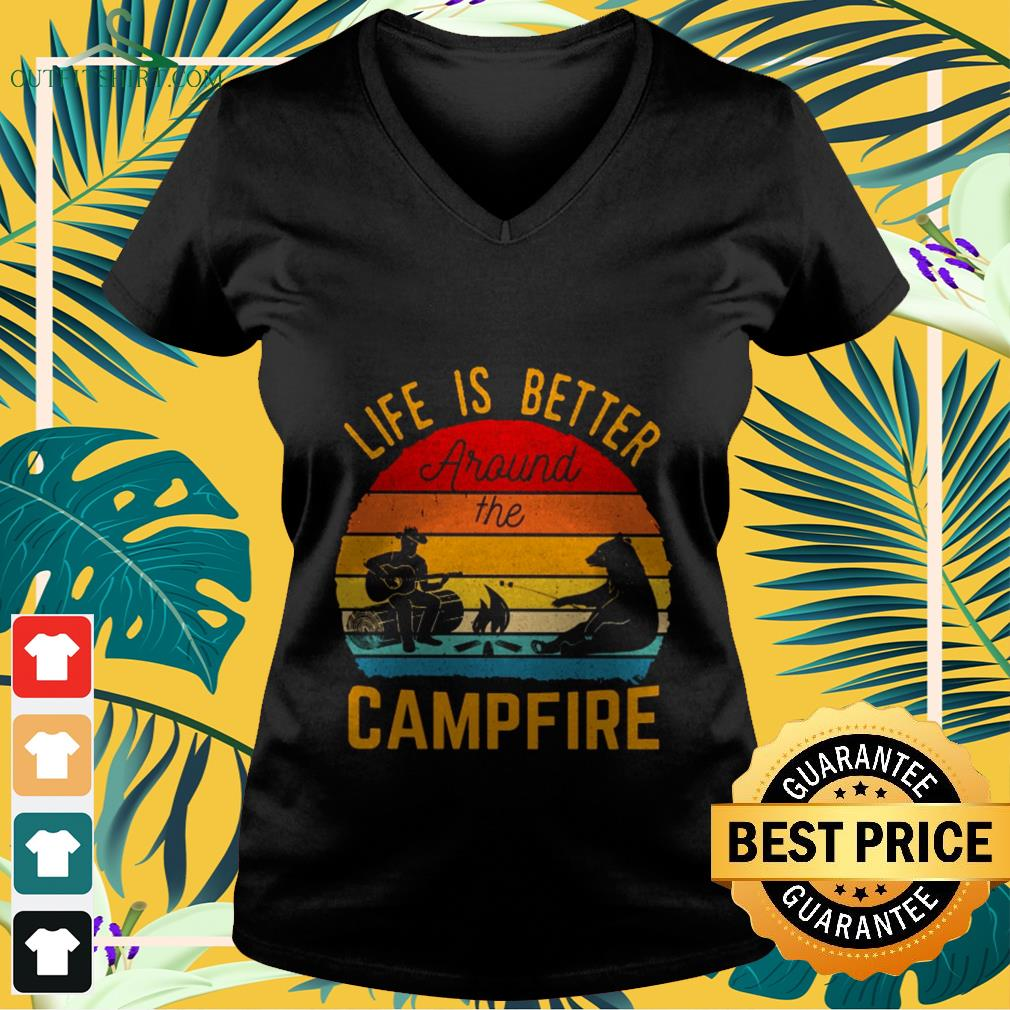 Life is better around the campfire vintage V-neck t-shirt