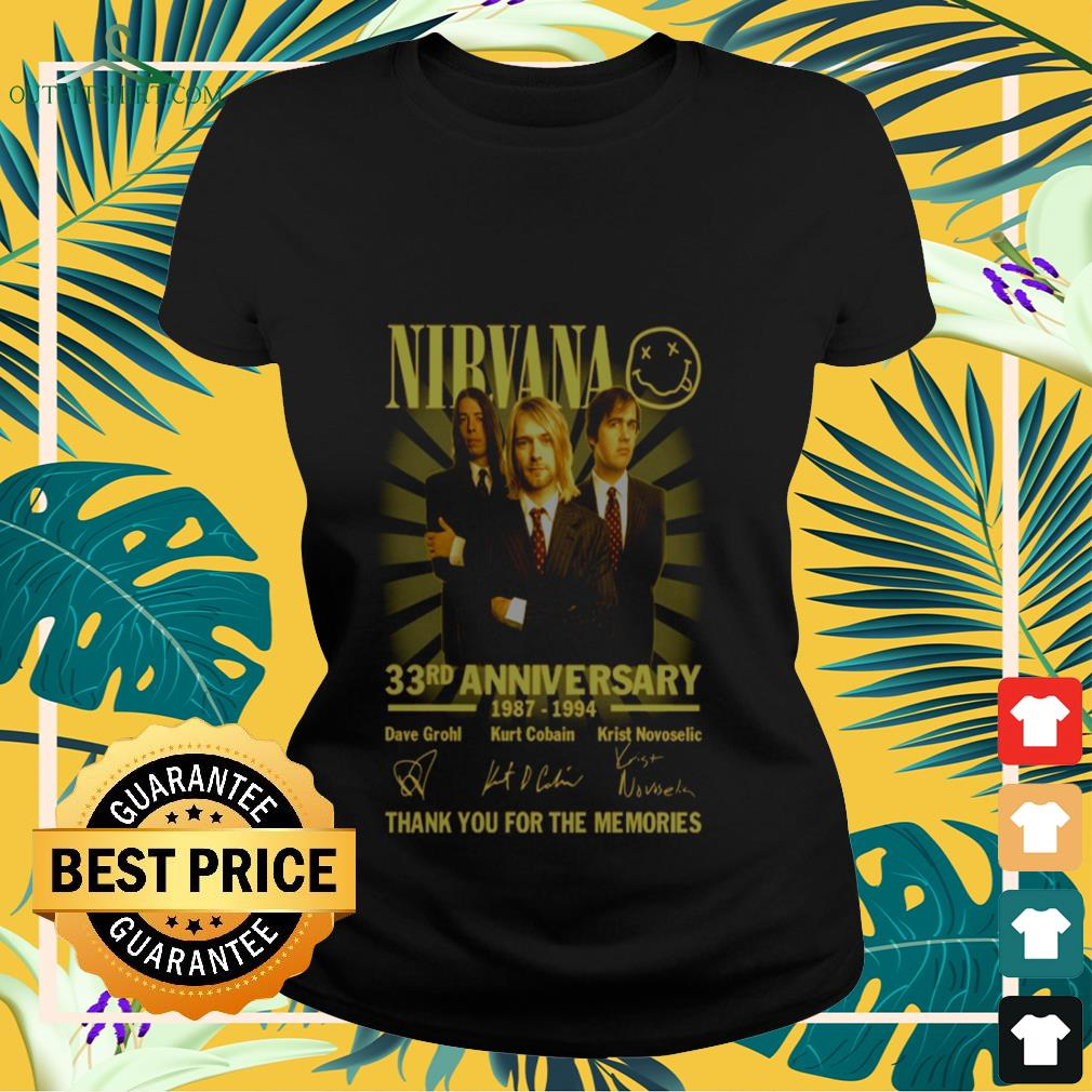 Nirvana rock band 33rd Anniversary 1987-1994 signature thank you for the memories Ladies-tee