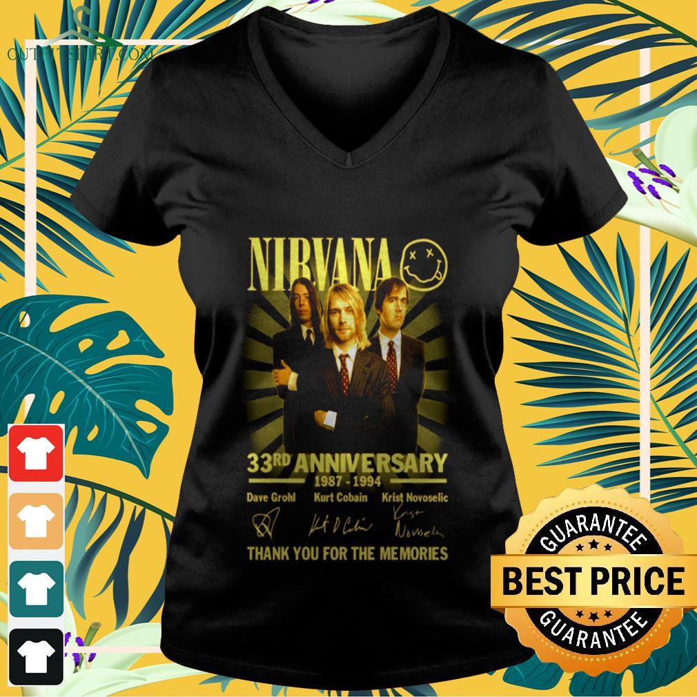 Nirvana rock band 33rd Anniversary 1987-1994 signature thank you for the memories V-neck t-shirt