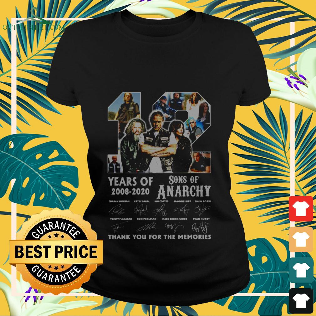 12 years old 2008 2020 Son of Anarchy signature thank you for the memories ladies-tee